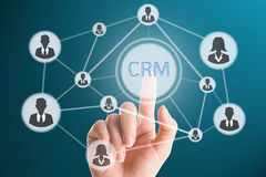 Touching CRM. For go to good relationaship with customer royalty free stock image