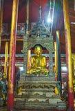 The Touching Earth Buddha in Monastery of Ywama, Myanmar. YWAMA, MYANMAR - FEBRUARY 18, 2018: The image of Buddha, Touching Earth in Nga Phe Chaung Monastery of Stock Photography