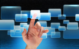 Touching finger high tech Royalty Free Stock Image