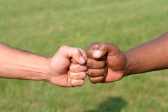 Touching fists. A white fist and a black fist touching to show unity Stock Photo