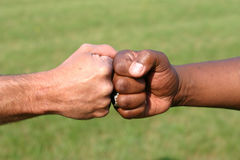 Touching fists. A white fist and a black fist touching to show unity Royalty Free Stock Photos