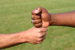 Touching fists. A white fist and a black fist touching to show unity Stock Image