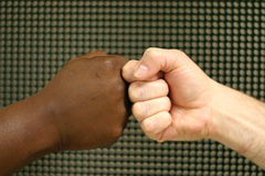 Touching fists. A white fist and a black fist touching to show unity Stock Photos