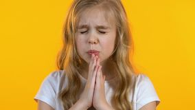 Touching girl folding her hands for prayer and asking for fulfillment of desire. Stock footage stock video footage