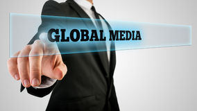 Touching a Global media button Royalty Free Stock Photo