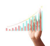 Touching graph of work. Businessman Touching graph of work Royalty Free Stock Photos