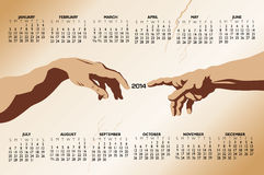 Touching hands 2014 calendar Stock Images
