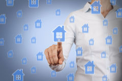 Touching House Insurance. On working business concept Stock Photo