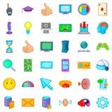 Touching icons set, cartoon style Royalty Free Stock Photos