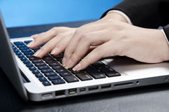 Touching keyboard Stock Photos