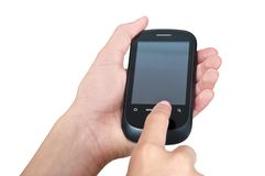 Touching mobile phone screen with clipping paths Stock Photography