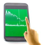 Touching Screen with Financial Chart. On Tablet Stock Photography