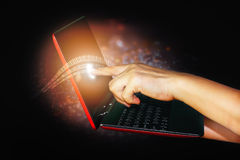 Touching screen on laptop Royalty Free Stock Photo
