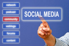 Touching social media screen Stock Images