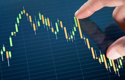 Touching Stock Market Chart. Touching stock market graph on a touch screen device Stock Photo