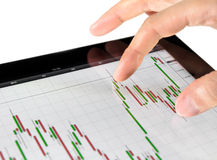 Touching Stock Market Chart Stock Photography