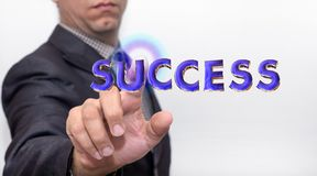 Touching success word on air stock image