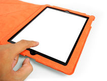 Touching tablet Stock Image