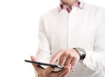 Touching a tablet. One person touchin a tablet with his finger stock photos