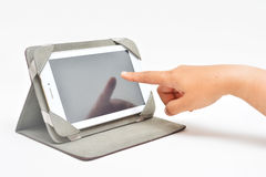 Touching tablet phone Stock Photos