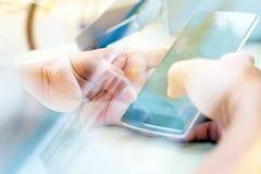 Touching Telephone. Communication technology background Stock Photography