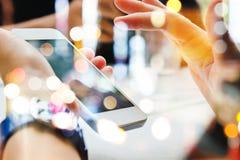 Touching Telephone. Communication technology background Royalty Free Stock Images
