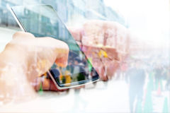 Touching Telephone. Communication technology background Royalty Free Stock Photos