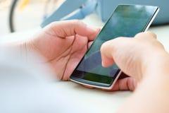 Touching Telephone. Communication technology background Royalty Free Stock Photo