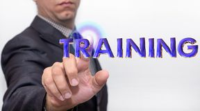 Touching training word on air stock photo