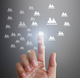 Touching virtual icon  social network Stock Photography