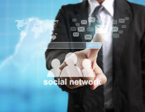 Touching virtual icon  social network. Touching virtual icon of social network Stock Images