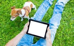 Touchpad avec l'espace vide blanc pour votre information d'annonce des textes Photographie stock libre de droits