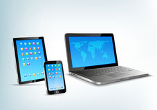 Touchpad, caderno, perspectiv do vetor do telefone celular Foto de Stock Royalty Free