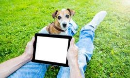 Touchpad con spazio vuoto bianco per le vostre informazioni dell'annuncio del testo Fotografia Stock