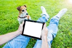 Touchpad con spazio vuoto bianco per le vostre informazioni dell'annuncio del testo Immagine Stock