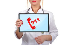 Touchpad with 911 Royalty Free Stock Photo