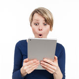 Touchpad e surpresa Imagens de Stock Royalty Free