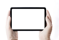 Touchpad in hand Stock Photography