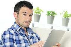 Touchpad man Stock Photo