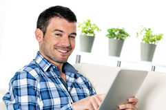 Touchpad man Stock Image