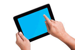 Touchpad PC (Tablet PC). Man holding Modern Touchpad PC (Tablet PC Royalty Free Stock Photo