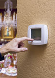 Touchpad Thermostat in an Elegant Home Royalty Free Stock Images