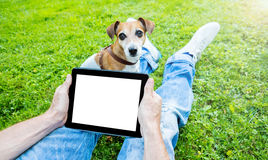 Touchpad with white empty space for your text ad information. Stock Photo
