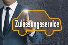 Touchscr do carro de Zulassungsservice (no serviço alemão da autorização) imagem de stock royalty free