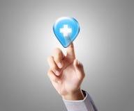 Touchscreen button. Hand pressing a touchscreen button and Medical Stock Photos