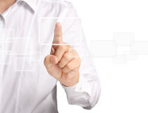 Touchscreen button. Business man pressing  touchscreen button Royalty Free Stock Photos