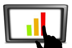 Touchscreen chart. Illustration of a Touch screen tablet PC displaying a chart, with a hand pointing to it Stock Image