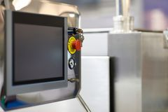 Touchscreen control panel of manufacture equipment stock photos