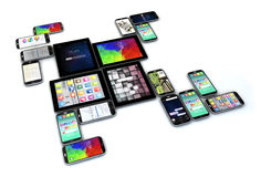 Touchscreen devices isolated. Creative technology business concept: group of tablets and touchscreen smartphones isolated on white background Royalty Free Stock Images