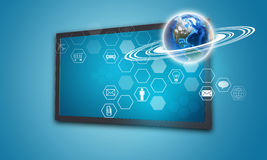 Touchscreen display with Globe and hexagons, on. Touchscreen display with Globe and hexagons with icons, on blue background. Element of this image furnished by Stock Photography